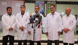 جانب من المؤتمر الصحفي (عدسة: محمود أبو حصيرة)