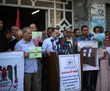 وقفة ضد حملة الاحتلال الاجرامية بحق الصحافة الفلسطينية وإغلاق مؤسسات إعلامية بالضفة (تصوير/عمر الإفرنجي)