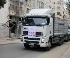 إضراب لسائقي شاحنات نقل البضائع من معبر كرم أبو سالم (تصوير/ عمر الإفرنجي)