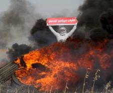 مواجهات على الحدود الشرقية لقطاع غزة للمطالبة بفك الحصار