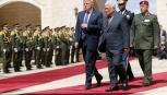 خلال استقبال الرئيس دونالد ترامب من رئيس السلطة محمود عباس في بيت لحم