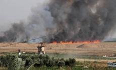 صورة للحرائق شرق غزة