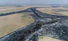صورة نشرها الاعلام العبري لحجم الحرائق في غلاف غزة