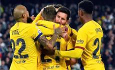 فرحة لاعبي برشلونة بالفوز