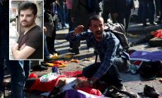 صورة من الانفجار الذي حدث في انقرة وفي الاطار صورة القتيل