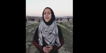 طفلة فلسطينية تغني من قلب مسيرات العودة