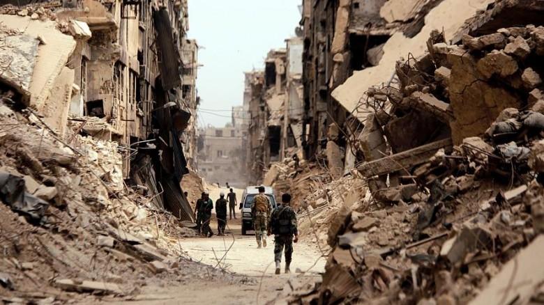 صورة من دمار مخيم اليرموك